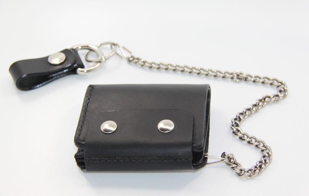 Personalisierbares Portemonnaie Bikerwallet aus Leder schwarz