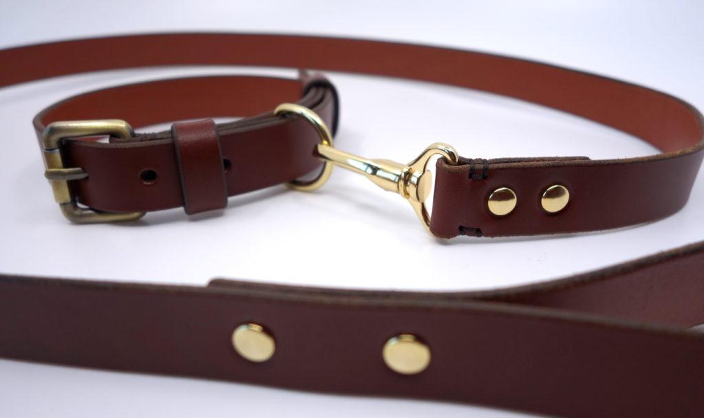 Personalisierbare Hundeleine aus Leder braun